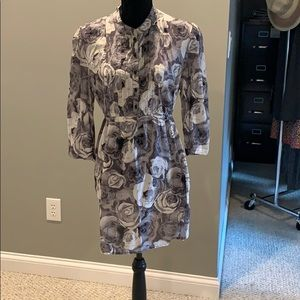 Sz XL Loft blk/white floral tunic w/tie waist